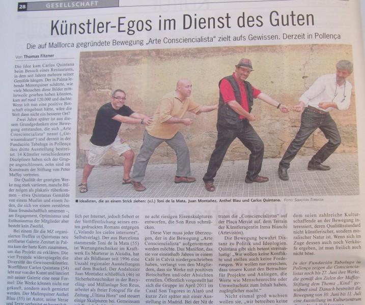 Reportaje en el periódico alemán MALLORCA ZEITUNG